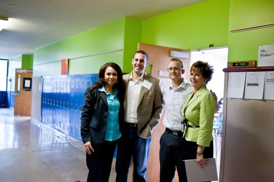 All Hands Raised Board Members Dan Floyd and Victoria Lara visit Centennial Middle School.