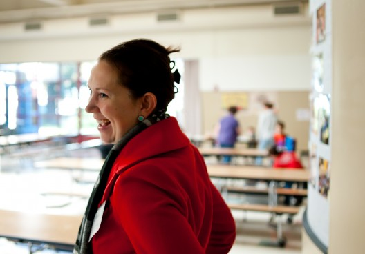 President of NW Health Foundation, Nichole Maher, at Sweetbriar Elementary School in Reynolds.